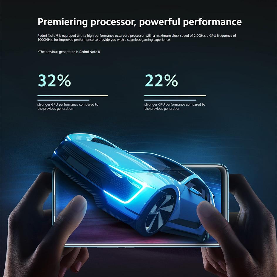 New Global version Redmi Note 9 64GB 3GB RAM Smartphone Helio G85 5020mAh battery 18W fast Charging 6.53\