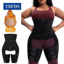 Ybfdo shaperwear cintura trainer neoprene sauna cinto para mulheres suor perna shaper emagrecimento coxa trimmer compressão dupla