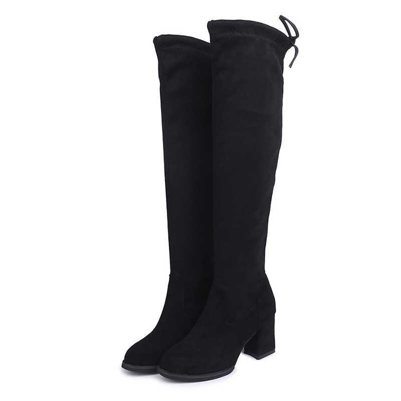 BONJOMARISA yeni Dropshipping bayanlar seksi diz yüksek streç çizme kadın siyah uzun çizmeler zarif yüksek topuklu ayakkabılar kadın