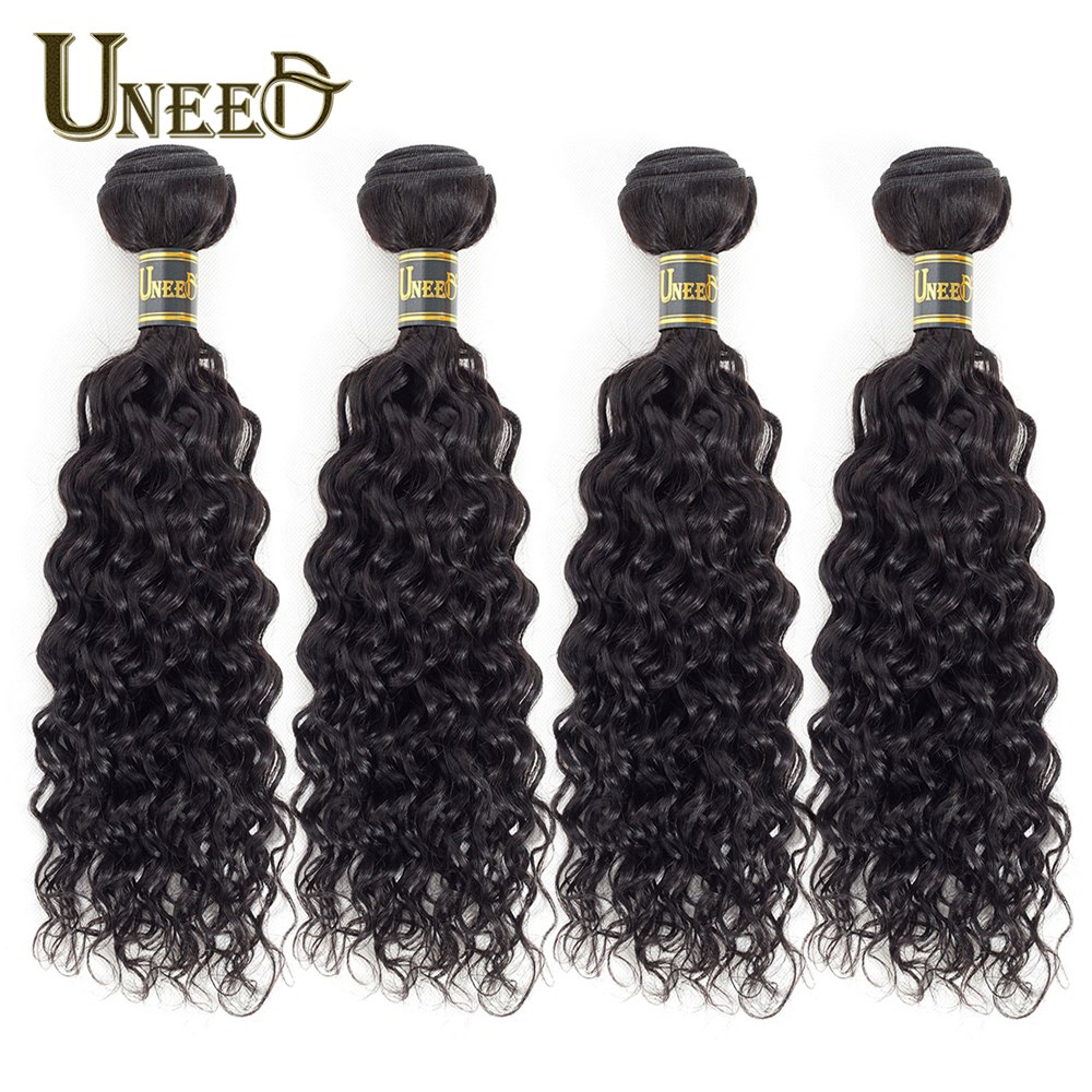 Uneed Malaysian Water Wave Hair Bundles 100% Human Hair Weaving 1/3/4 Bundle Deals Remy Hair Extension Natural Color For Woman