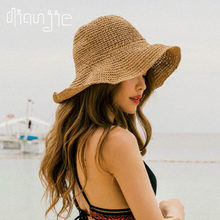 2021 foldable Summer New Women's Sun Hat Bucket cap beige lace Bowknot Flowers Ribbon Flat top Panama soft Straw Hat Beach Caps