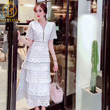 SMTHMA 2019 New arrive High quality luxury runway white Lace Dress women Summer Short sleeve Sexy V-neck party dress vestidos(China)