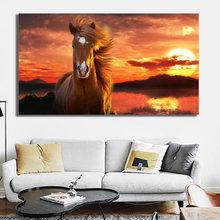 Decoracion hogar moderno cavalo pôr-do-sol paisagem pintura da parede imagem impressão em tela para sala de estar casa cartaz sem moldura