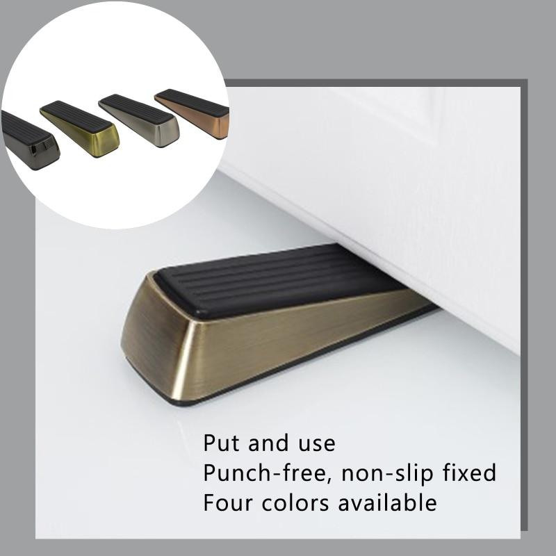 Door Stopper Holder Creative Nail-free Zinc Alloy Wedge Stop Rubber Hidden Non-contact Anti-collision Hardware Furniture Floor