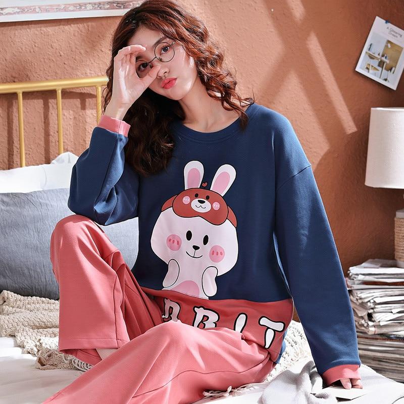 JULY'S SONG Women Pajamas Set Cute Cartoon Sleepwear Autumn Winter Fashion Printed Long Sleeve Casual Homewear Female Pajamas