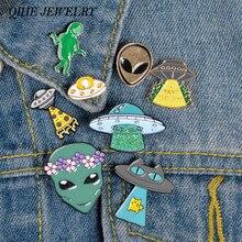 Joyería QIHE Alien y UFO esmalte, colección de Pins espacio exterior solapa pins insignias de Alien verde broches para Geeks/él/ella