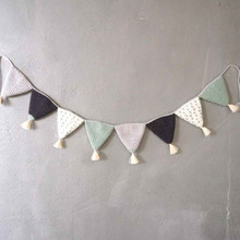 Nordic Pure Cotton Handmade Crochet Pennant Hanging Flag Children's Room Decoration Home Wall Hanging Decor Baby Holiday Gift