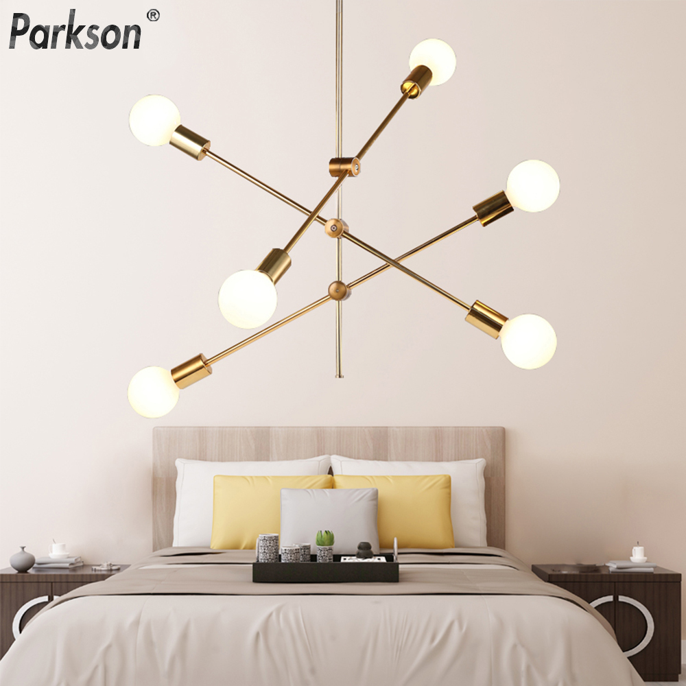 Modern Nordic E27 Pendant Lights Black Gold Pendant Lamps 1 2 4 6 8 Head Led Light Bulb Hanging Lamp Decoration Bar Dining