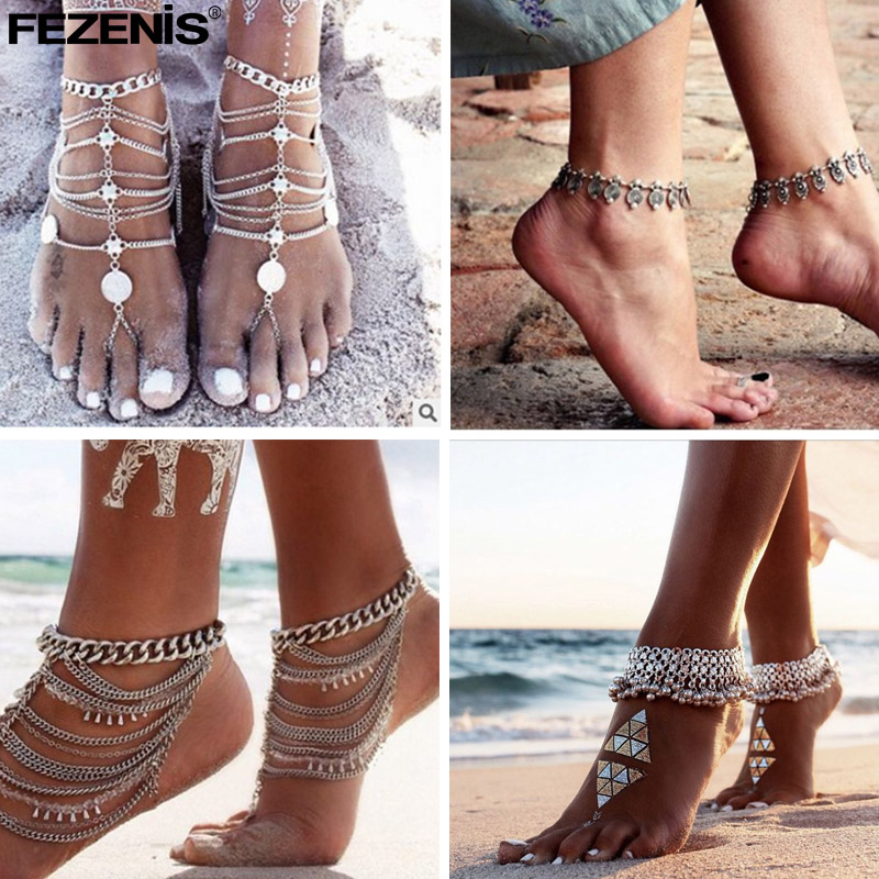 Boho Anklet for Women Antique Silver Color Leg Chain on the Leg Bohemian Ankle Bracelet Barefoot Sandals Beach Foot Jewelry