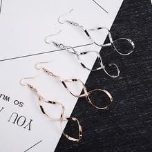 Korean Fashion Geometric European and American Simple Earrings Spiral Curved Design Wave Curve Dangle