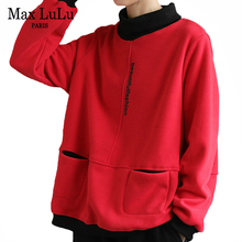 Max LuLu Korean Designer Women 2020 Winter Casual Sweatshirts Ladies Loose Warm Fur Hoodies Turtleneck Printed Clothes Plus Size