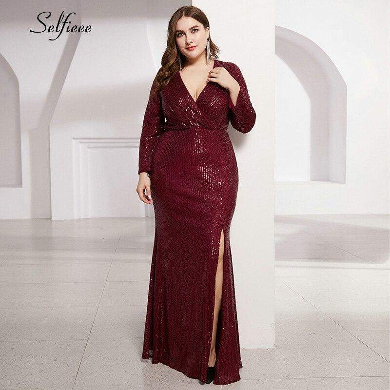 Plus Size Sequin Dress Women Ruched Deep V-Neck Side Split Long Sleeve Bodycon Dress Fashion Sparkle Party Dress Vestidos 2020