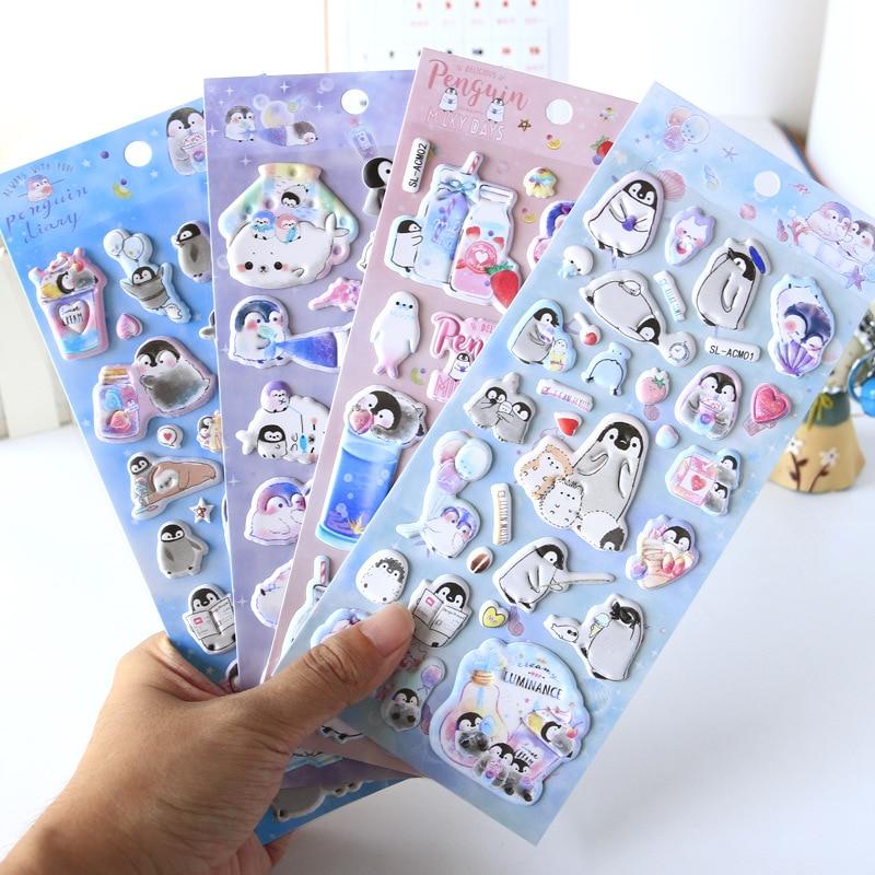 Kawaii Small Penguin 3D Sponge Diary Sticker Scrapbook Decoration Stickers PVC Stationery DIY Stickers School Office Supply