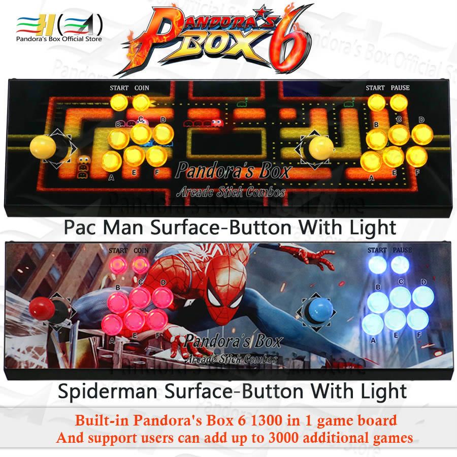 2020 Pandora Box 6 1300 In 1 Arcade Game Console 2 Players Can Add 3000 Game Support Fba Mame Ps1 3d Tekken Mortal Kombat Pacman
