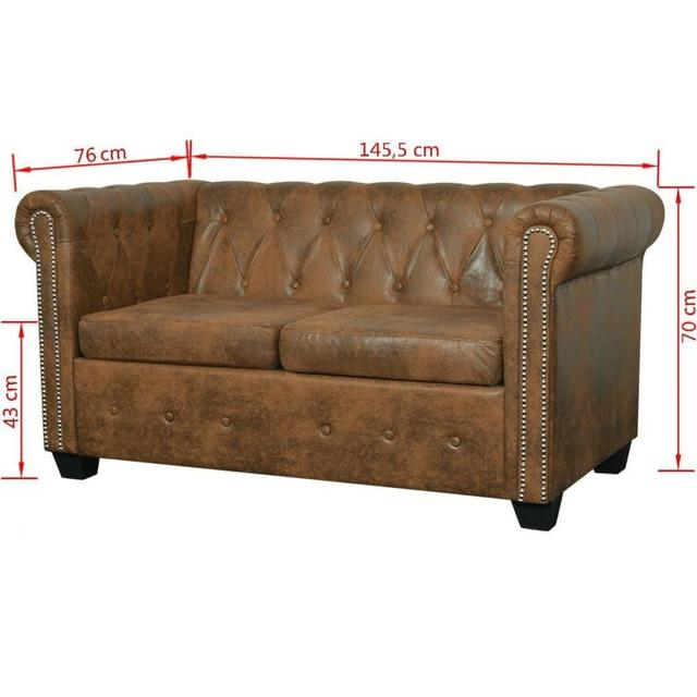 [ES Warehouse] Chesterfield 2 seater sofa in artificial brown leather Free Shipping Spain Drop Shipping 2