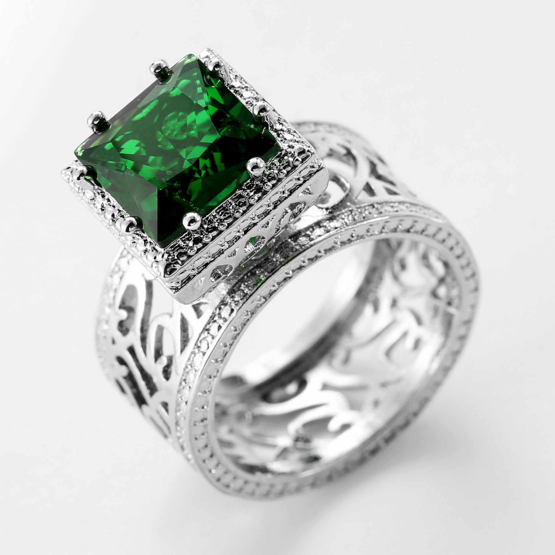 Anillo de compromiso de circonita cúbica con corte de princesa verde plateado de anillos 925 para mujer, boda, gran regalo de fiesta