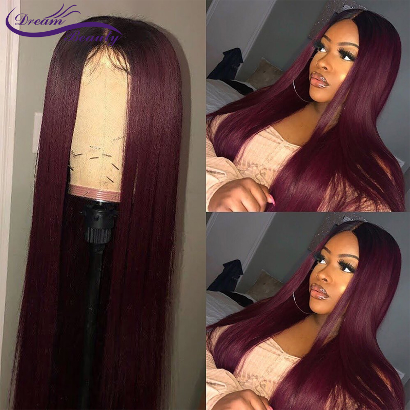 Ombre Color 1B/Burgundy 13x4 Lace Front Human Hair Wigs With Baby Hair Straight Brazilian Remy Hair Wigs Pre-Plucked DreamBeauty