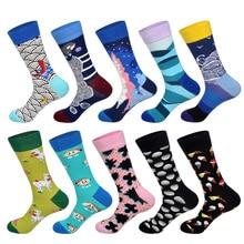 LIONZONE 10Pairs/Lot Newly Colorful Men Socks Flower Animal Food Football Basketball Diamond Plaid Stripe Business Dress