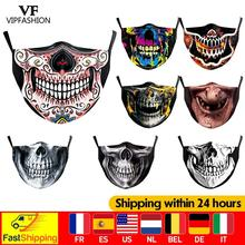 VIP FASHION Adult Kids Funny Big Mouth Face Mask Skull Printed Cosplay Halloween Party Skeleton Face Cover Washable Fabric Masks