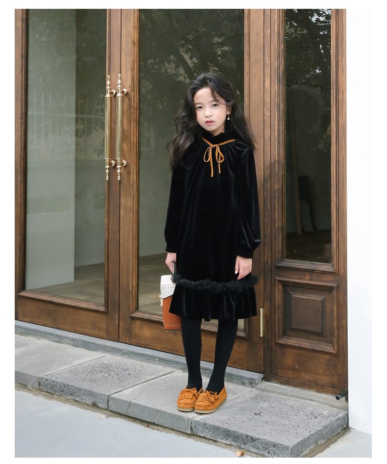 Teenage Kids Girls Winter Dress Fleece 2019 New Baby Girl Autumn Dress Black Kids Casual Dress Girl Children Top Toddler Dresses (6)