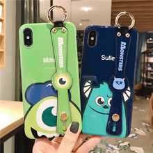 New Monster Leather Wristband Phone Case for iPhone 11 11PRO X XR XS MAX 6 6S 7 8PLUS Cover Anime Holder Back