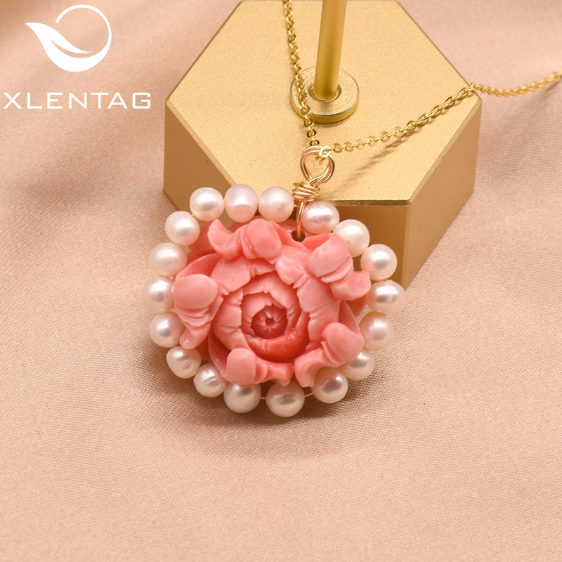 XlentAg Fresh Water White Pearl Flower Pendant Necklace For Women Girl Fine Wedding Birthday Jewelelry Collares De Moda GN0142