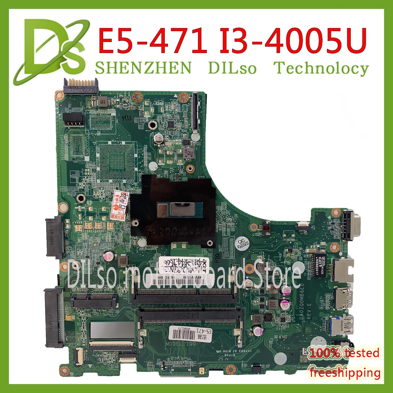 Galleria fotografica KEFU DA0ZQ0MB6E0 per <font><b>Acer</b></font> aspire E5-471 E5-471G V3-472P scheda madre Del Computer Portatile i3-4005u CPU mainboard originale
