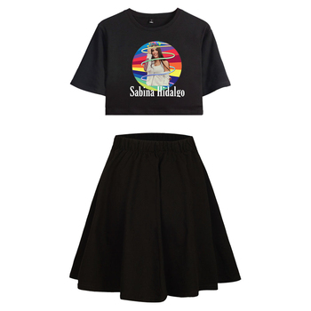 WAWNI Sabina Hidalgo Short Sleeved Tshirt plus Short Skirt Two Piece Set Woman Skirt Casual Cotton High Quality 2020 New Loose image