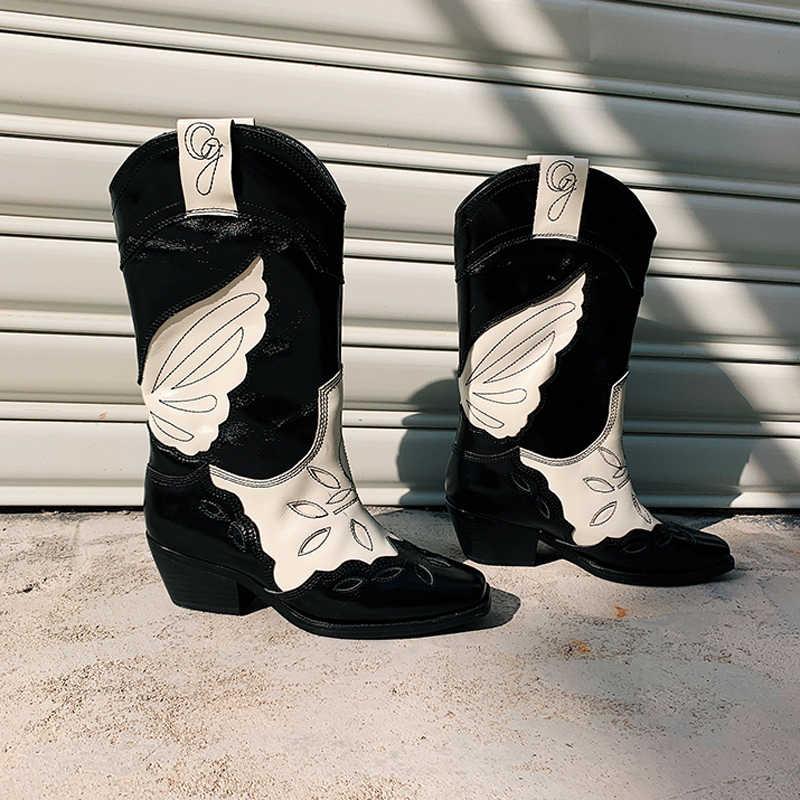 Yeni kare ayak tıknaz topuk orta buzağı çizmeler kadınlar için nakış kelebek batı kovboy çizmeleri yüksekliği artan şövalye patik