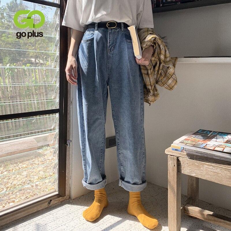 GOPLUS Jeans Korean Style Women High Waist Plus Size Mom Jeans Boyfriends Streetwear Harem Pants Vaqueros Mujer Jeansy Damskie