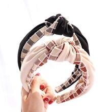Широкие полосатые повязки на голову для женщин и девочек клетчатые