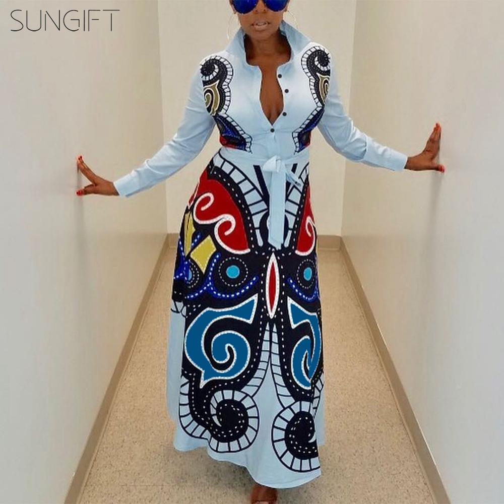 2019 Sale African Dress Autumn And Winter Dashiki Long Maxi Dress For Party Slim Sleeved Dress New Fashion Africa Clothing