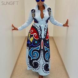 2019 venta vestido africano Otoño e Invierno Dashiki largo Maxi vestido para fiesta ajustado manga vestido nueva moda África ropa