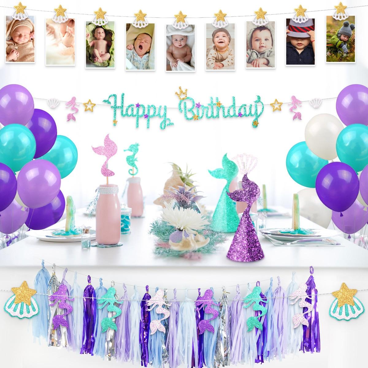 Nouveau best-seller thème sirène enfants décorations de fête d'anniversaire ensemble gland gâteau drapeau sirène fête fournitures fête d'anniversaire