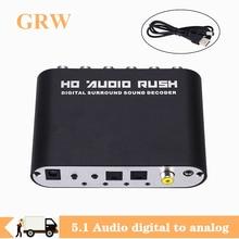 Grwibeou DAC Digital to Analog 5.1 digital to analog audio converter decodificad Optical SPDIF Coaxial AUX 3.5mm to 6 RCA Sound