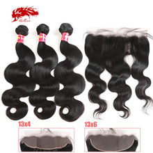 4x4 HD Transparent Lace Closure with Body Wave Brazilian Human Remy Hair Bundles 13x4 Lace Frontal Natural Color Pre-Plucked