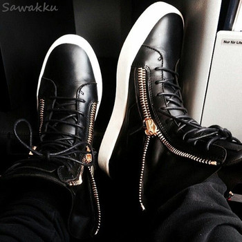 Мужские кроссовки со шнуровкой Kanye, черные повседневные кроссовки на вулканизированной подошве, на молнии, для весны и осени, 2019
