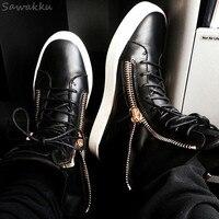 Fashion Celebrity Stars Men Casual Shoes Lace up High Top Kanye Vulcanize Shoes Zipper Spring Autumn Black Platform Sneakers