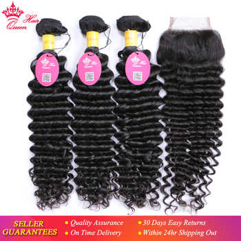 Queen Hair 100% Unprocessed Human Hair Peruvian Deep Wave Virgin Hair 3 Bundles with Lace Closure, Bundle with Closure 4pcs/lot - DISCOUNT ITEM  49% OFF All Category