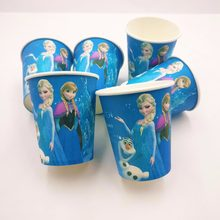 10pcs/set Frozen Anna And Elsa Party Decoration Disposable Tableware Paper Cups Cartoon Pattern Kids Party Supplies(China)