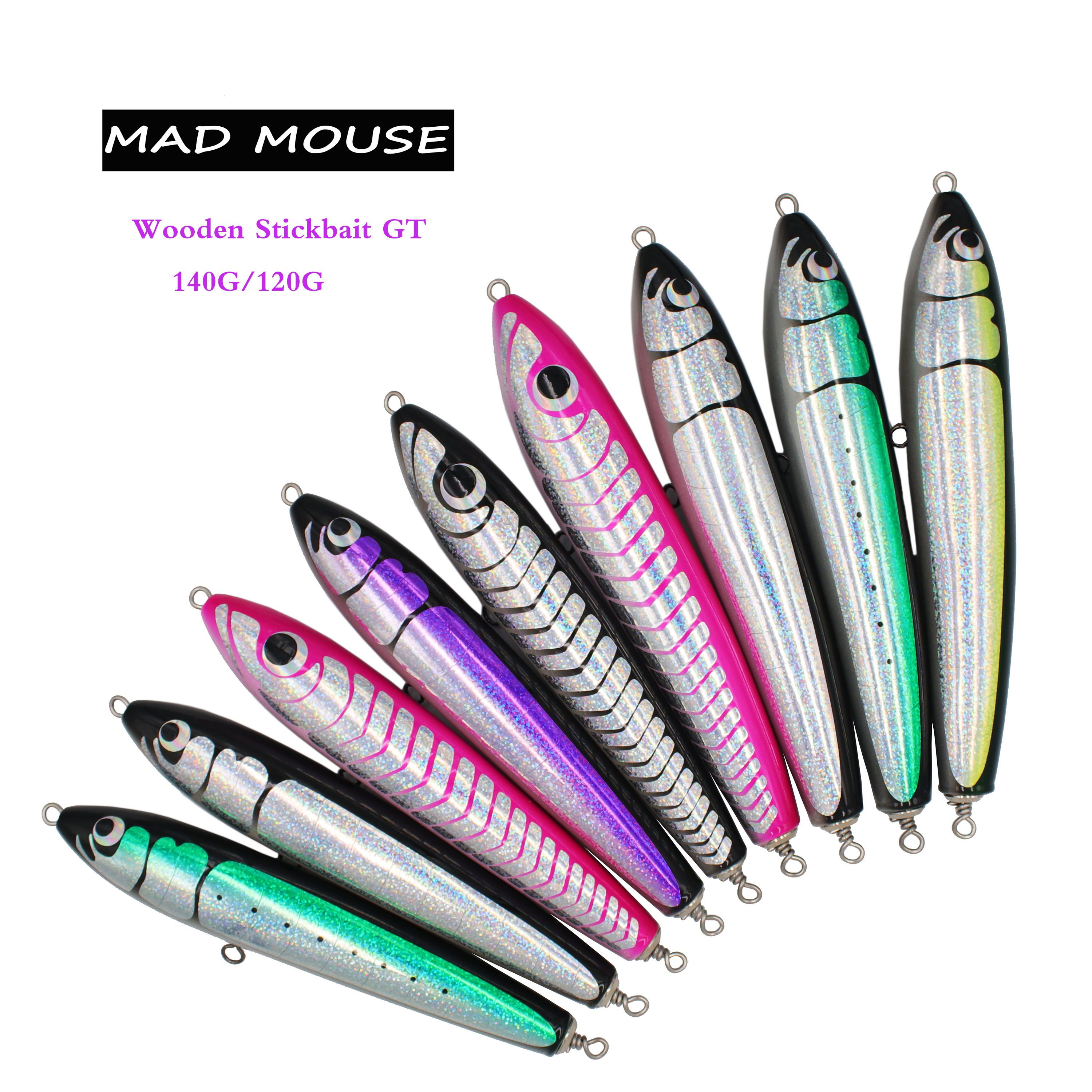 NEW MAD MOUSE Topwater Wooden Stickbait GT Surface Trolling Lure 140G/120G Deep Sea Pencil Boat Fishing Artificial Bait Ocean