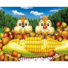Diy картина по номерам Белки едят кукурузы Раскраска 40x50 см