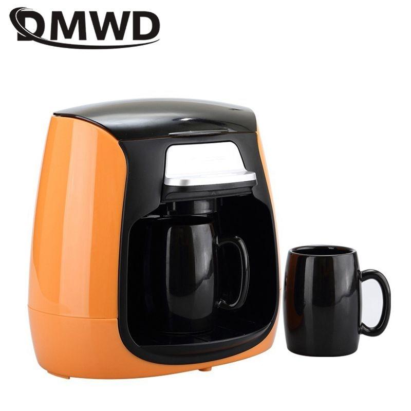 DMWD 1 כוס/2 כוסות מיני סוג טפטוף מכונת קפה אוטומטית קפה אמריקאי עם קרמיקה ספל כוס בית תה 220V