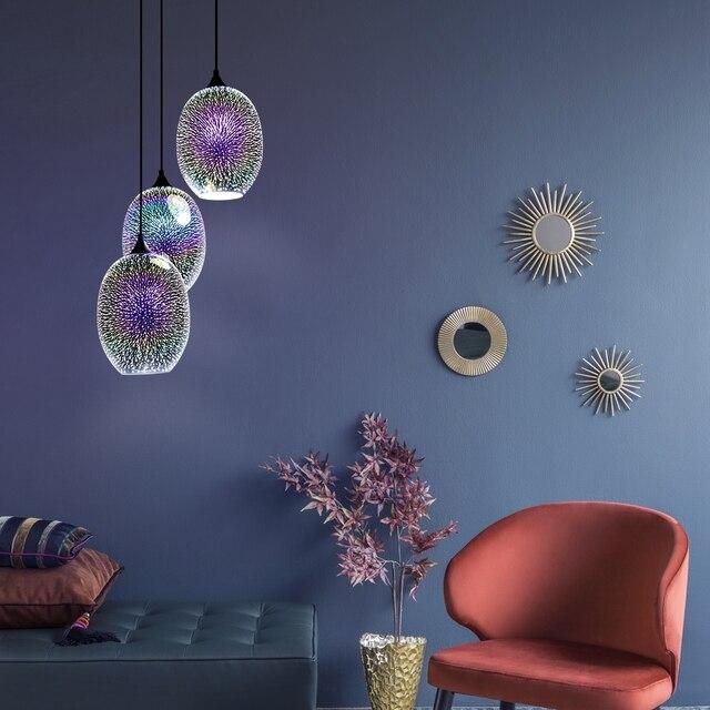 Modern combination creative 3 E27LED indoor lighting hanging lamps bedroom hall living room loft office bar glass pendant lights 4