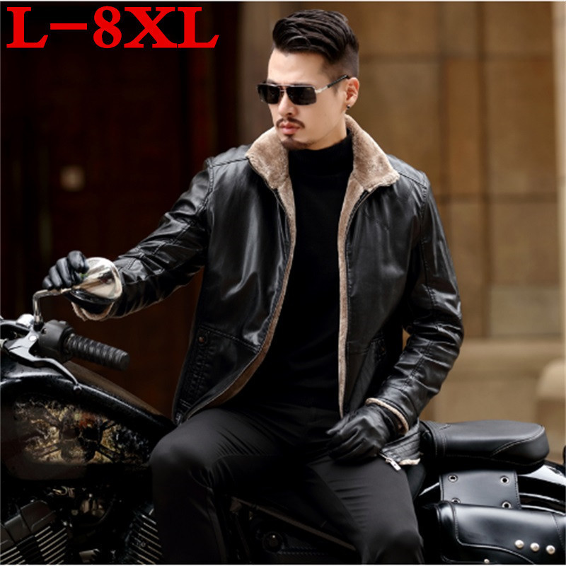 New Plus Size 8XL 7XL 6XL 5XL Warm Winter Sheepskin Men's Leather Jacket Men Leisure Fur Coat Men Brand Luxury Real Leather Coat