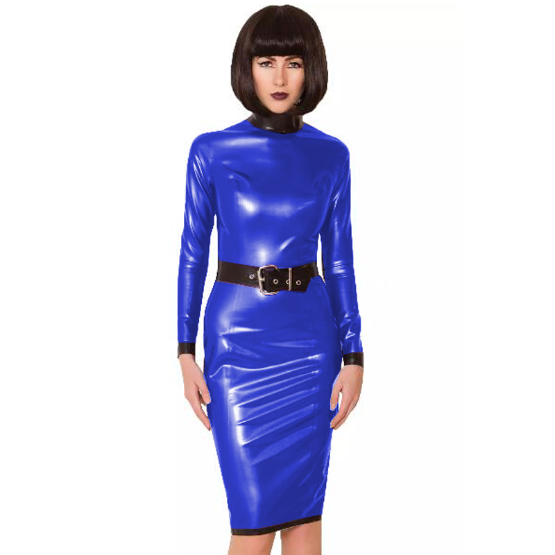 24 Colors Back Zipper Long Sleeve Knee Length Dress Lady Slim Vestido Fashion Patchwork Color Midi Dress Sexy Stage PVC Clubwear 17