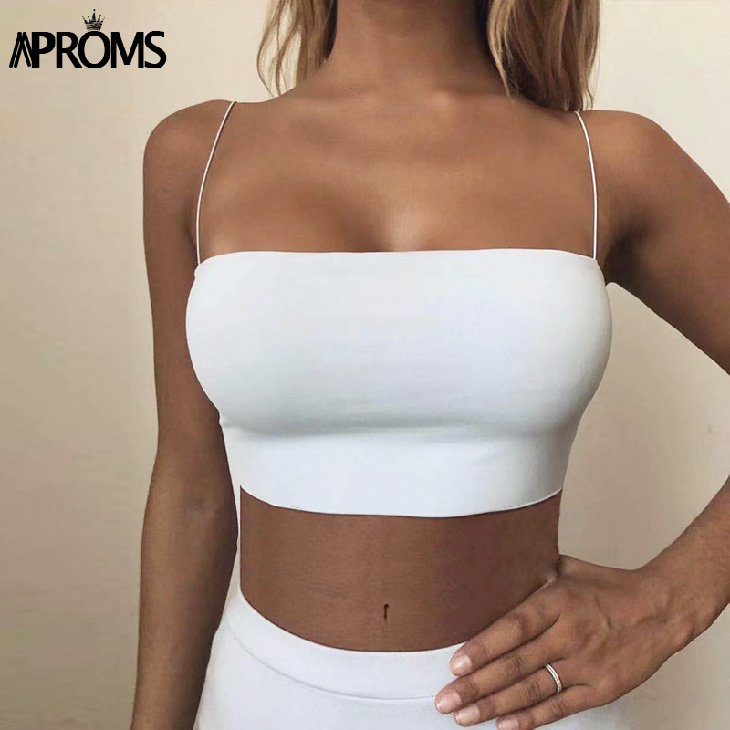Aproms Sexy Square Neck Basic Camis Women Summer Solid Color Cropped Tank Tops Cool Girls Streetwear Thin Strap Elastic Crop Top