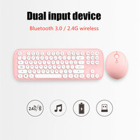 Keyboard mouse combo Bluetooth 2.4G wireless dual connection retro girl office computer for ipad Android Macos Windows
