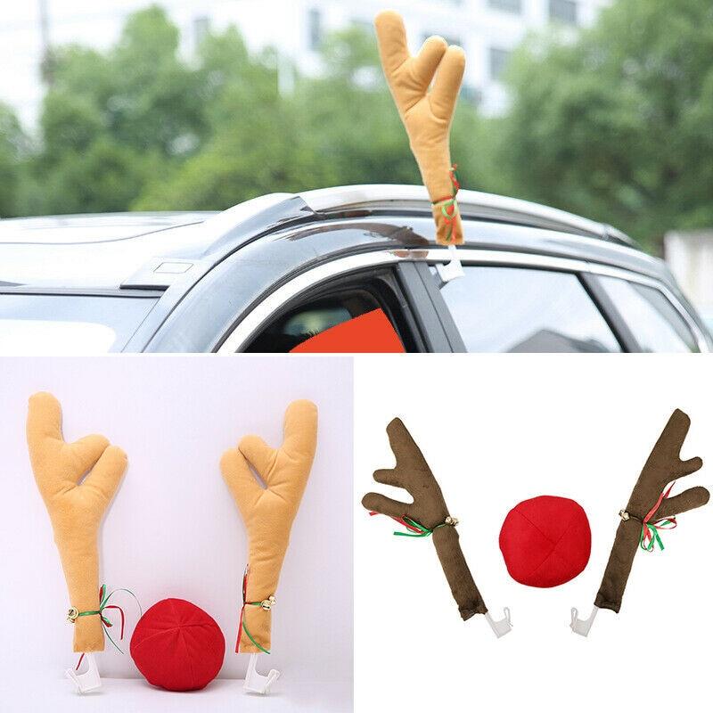 Adornos de coche Reno decoración de Navidad coche vehículo nariz cuerno traje conjunto Rudolf Reno cuernos adornos de nariz rojo cuerno