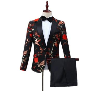 Banquet party costume men casual black suit set slim lapel flower and bird embroidery adorn one button fashion suit (coat+pant)